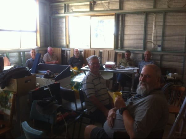 Morning Tea (from left: Graham Caulfield, Warwick Mitchell, Ian Sharp, Ron Hyde, Dick Puttyfoot, Reg Hollonds & Mark Hardidge