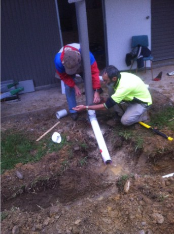 Storm water work: Brian Keeble and Ian Howley