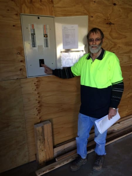 Shed Project Manage Ian Howley turning on the Shed power on Wednesday 19th August 2015