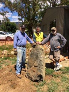 The Plaque Rock positioned this week. From left: John Driver, Dick Puttyfoot & Brian Keeble