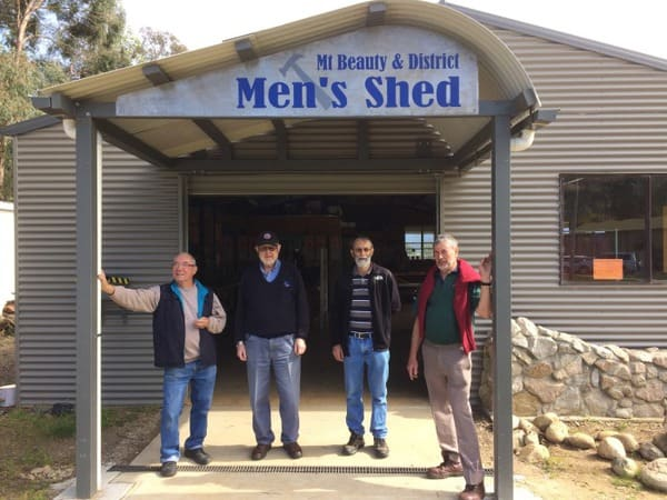 New Sign just erected. From left: Irvin Beeston, John Driver, Ian Howley & Dick Puttyfoot