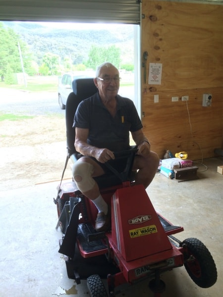 Irvin Beeston testing the new ride-on-mower seat