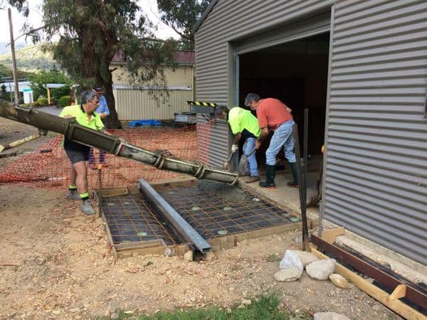 Pouring concrete for roller door entrances