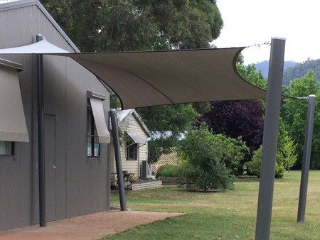 New Shade Sail erected. Great addition to Shed's social activities area