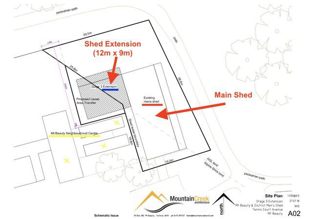 Site plan of Shed extension