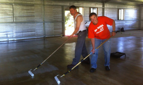 Floor sealing: Dick Puttyfoot & Paul L'Huillier