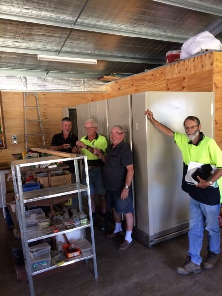 Compactus Storage Unit installed. Left: Dick Puttyfoot, Reg Hollond, Irvin Beeston & Ian Howley