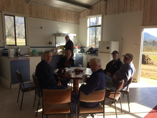 Love those morning teas - From left: Rod Hyde, Lindsay Ikin, Ian Sharp (std), Doug Hamilton, John Hunt & Brian Keeble